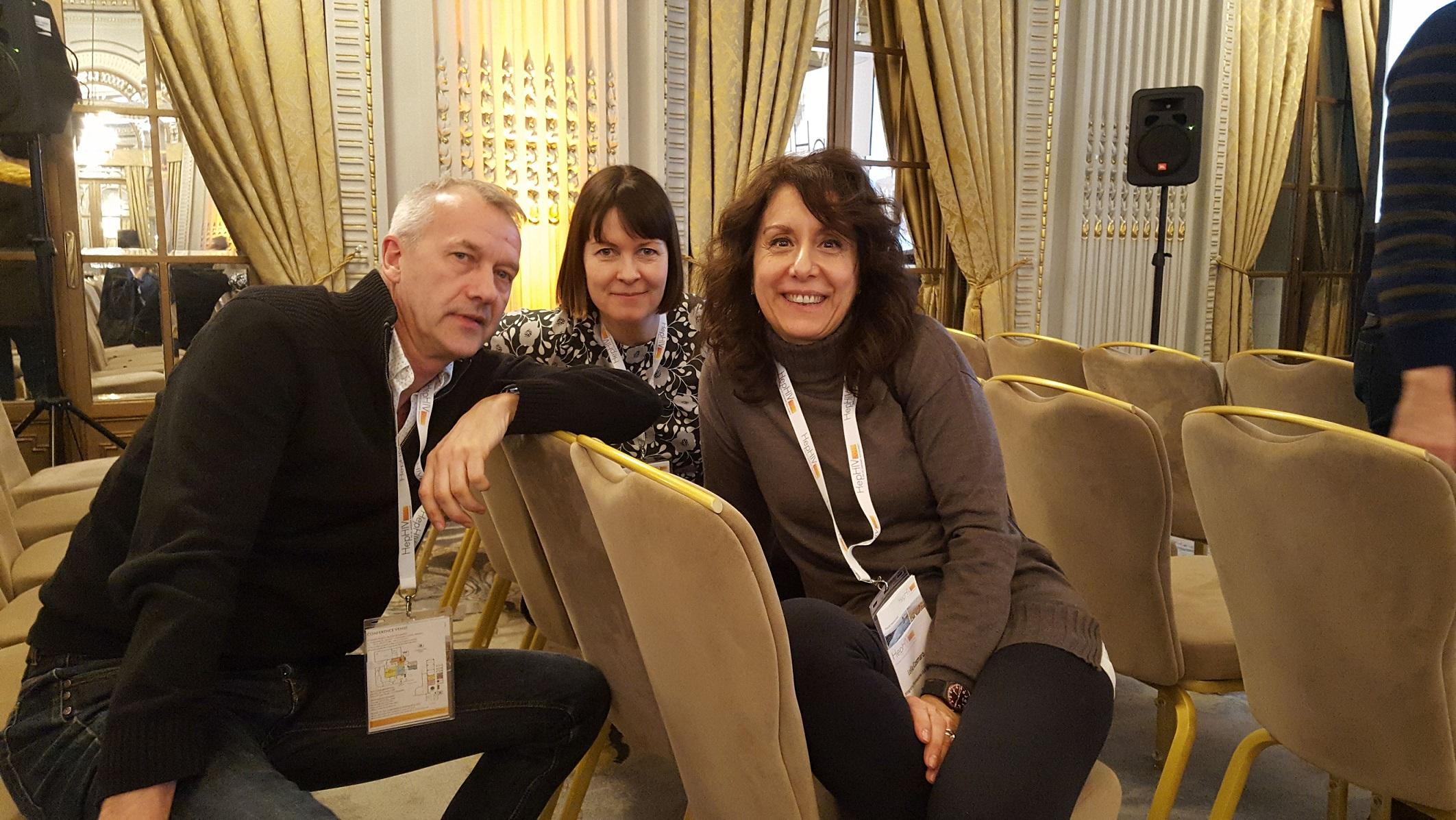 Michael Krone (AAE), Sini Pasanen (Positiiviset ry, HivFinland), Lella Cosmaro (INTEGRATE, LILA Milano) at HepHIV 2019