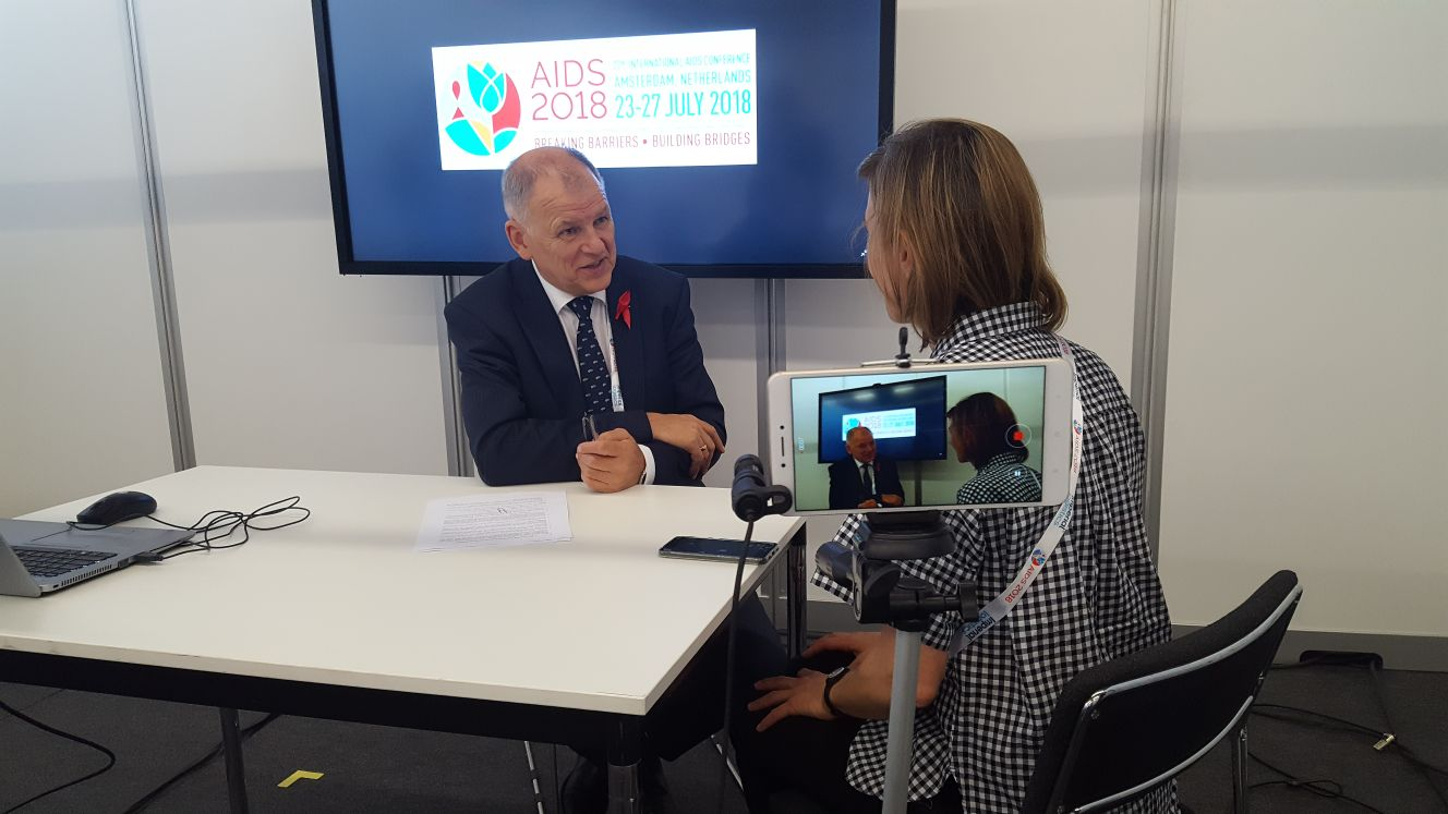 Commissioner Vytenis Andriukaitis giving an interview