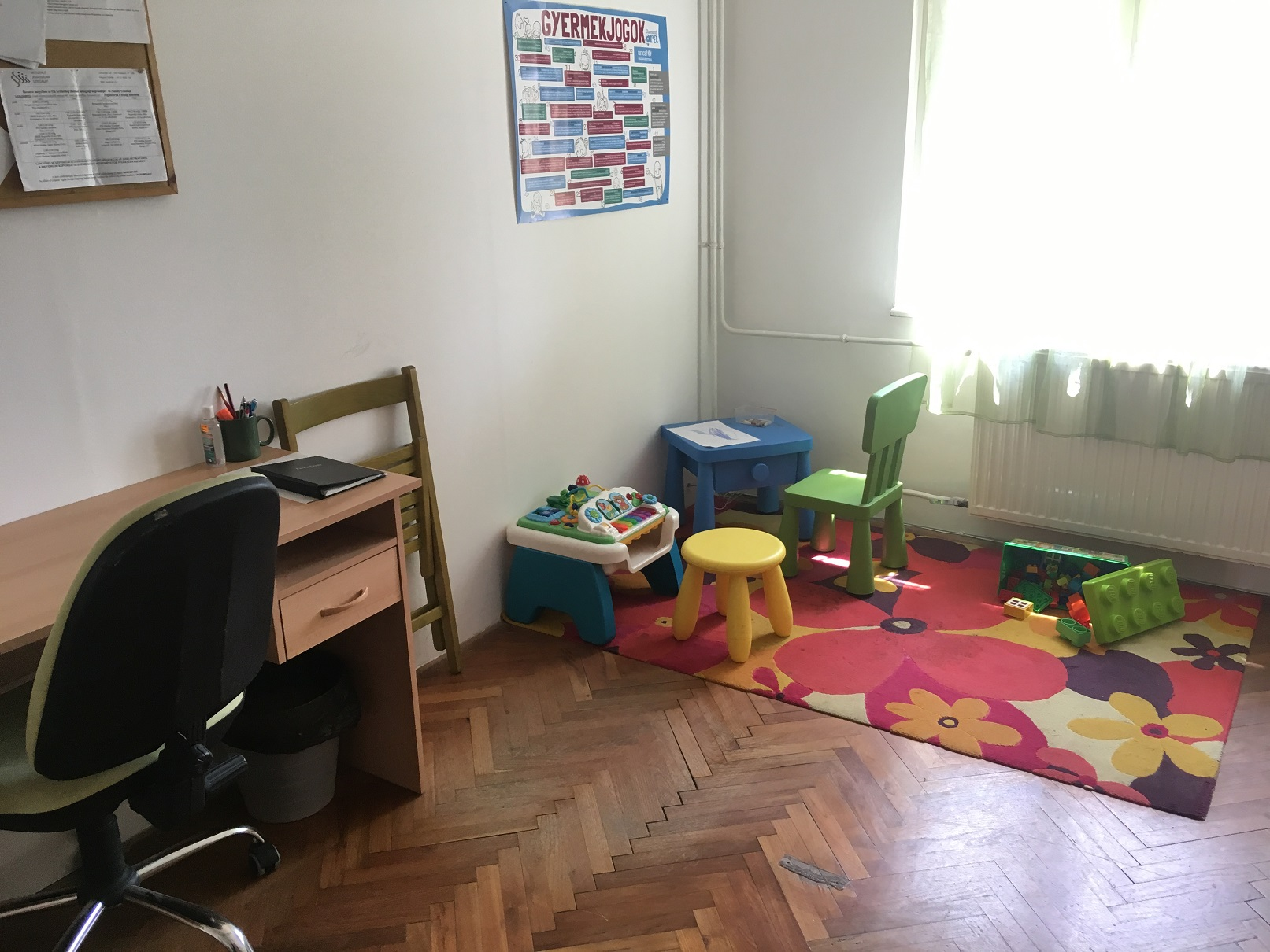 Kids corner at the low-threshold centre, NGO INDIT Foundation, Pécs, Hungary