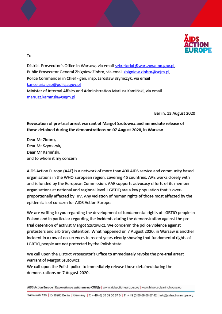 Advocacy Letter 2020 - Revocation of pre-trial arrest warrant of Margot Szutowicz and immediate release of those detained during the demonstrations on 07 August 2020, in Warsaw (1)