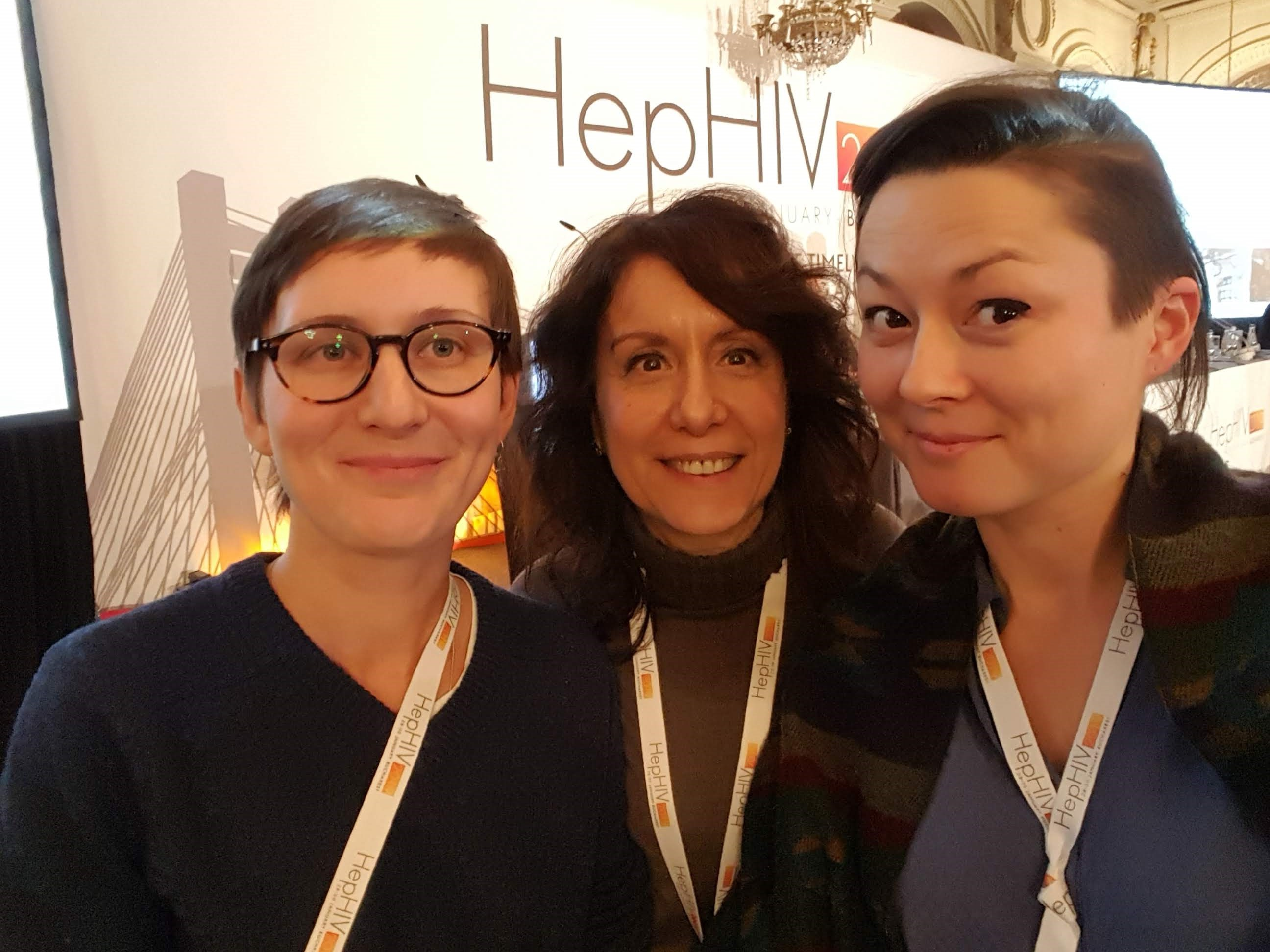 Sasha Gurinova (HA-REACT, DAH, Germany), Lella Cosmaro (INTEGRATE, LILA Milano) and Ljuba Boettger (HA-REACT, AAE) at HepHIV 2019
