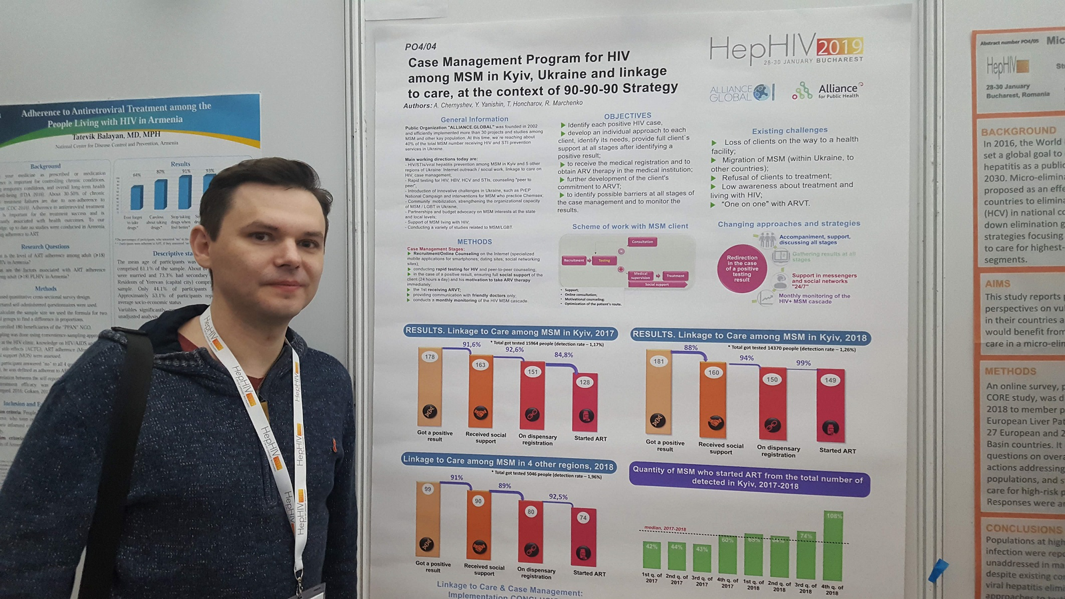 Andrii Chernyshev presenting Alliance Global poster on Case Management Program for HIV among MSM at HepHIV 2019