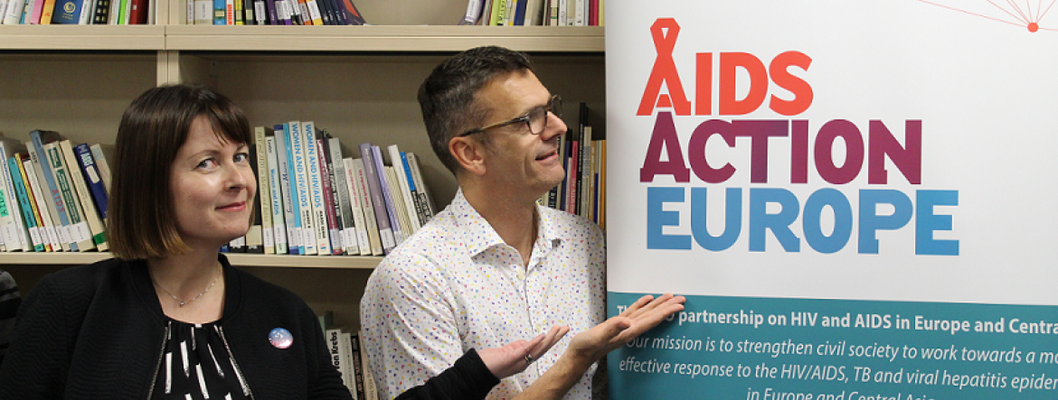 AIDS Action Europe Steering Committee Meeting, Berlin, 2018, Sini Pasanen and Richard Stranz