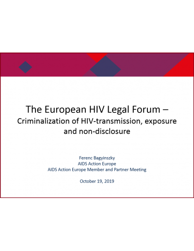 The European HIV Legal Forum and preliminary findings of the HIV-criminalization project