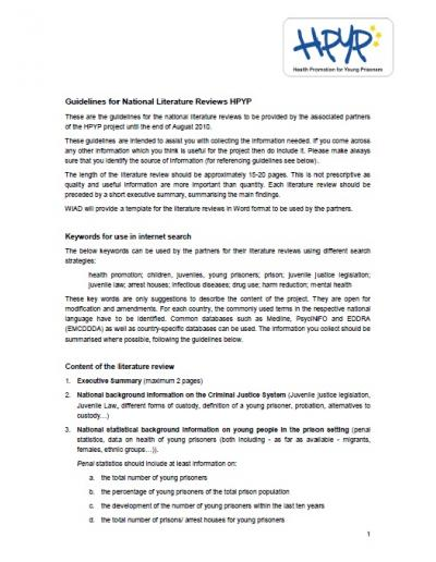 Health Promotion for Young Prisoners (HPYP): Guidelines for National Literature Reviews