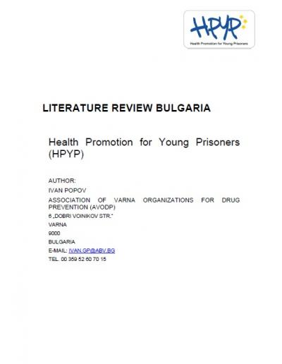 Health Promotion for Young Prisoners (HPYP): Literature Review in Bulgaria