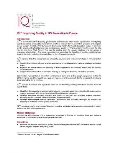 IQhiv: Improving Quality in HIV prevention in Europe
